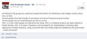 """Community Patriot Radio Facebook promotes the """"Magna Carta"""" 15th March demo"""