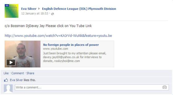 Eva Silver posting of Bossman Dj Davey rant on Plymouth EDL Facebook page